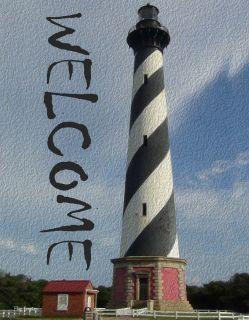 Flag Emotes - Double Sided Garden Flag - Welcome Black & White Lighthouse