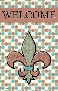 Flag Emotes Double Sided Garden Flag Welcome Fleur De Lis Polka Dots