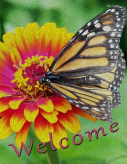 Flag Emotes - Double Sided Garden Flag - Welcome Monarch Butterfly