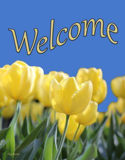 Flag Emotes - Double Sided Garden Flag - Yellow Tulips Welcome