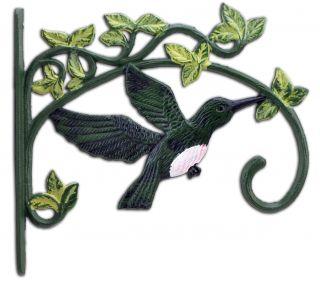 "Decorative Hummingbird Cast Iron Plant Hanger Hook - Large 11.25"" Deep"