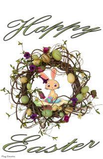 Flag Emotes Double Sided Garden Flag Happy Easter - Easter Egg Wreath & Bunny