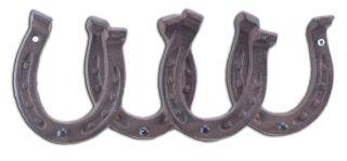 "Cast Iron Wall Hook Rack Horseshoes 4 Hooks 11.75"" Wide"