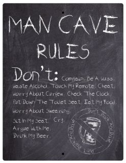 Aluminum Sign Man Cave Rules Don't Chalkboard Style