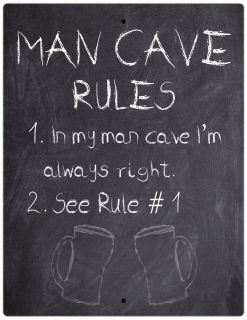 Aluminum Sign Man Cave Rules I'm Always Right Chalkboard Style