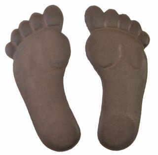 Pair Of Cast Iron Yard & Garden Stepping Stones - Human Footprints - Rust Brown
