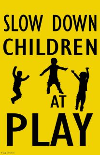Flag Emotes Double Sided Garden Flag Slow Down Children At Play