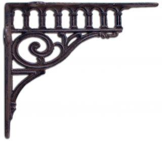 """Cast Iron Wall Shelf Bracket - Ornate Columns - 11.38"""" Deep"""
