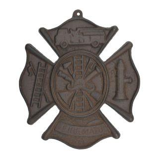 "Firemans Cross Firefighting Wall Hanging Plaque Cast Iron 7.75"" W"