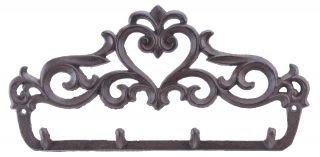 "Cast Iron Wall Hook Rack Ornate Victorian 4 Hooks 12"" Wide"