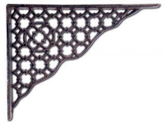 Cast Iron Wall Shelf Bracket Ornate Lattice Pattern