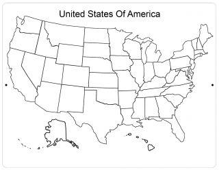 Aluminum Sign United States Of America Map Black & White