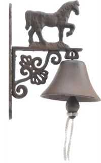 Cast Iron Dinner Bell Walking Horse Distressed Brown