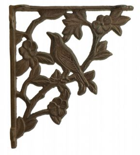 "Wall Shelf Bracket Bird On Branch Pattern Cast Iron - 7.625"" Deep"