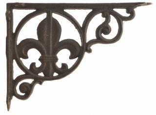 """Wall Shelf Bracket Brace Fleur De Lis Pattern - Cast Iron 8.625"""" Deep"""