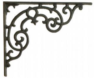 "Wall Shelf Bracket - Ornate Pattern - Black Cast Iron - 11.25"" Long"