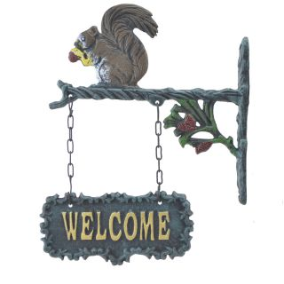 """Double Sided Hanging Welcome Sign Squirrel Eating A Nut 9"""" Wide"""