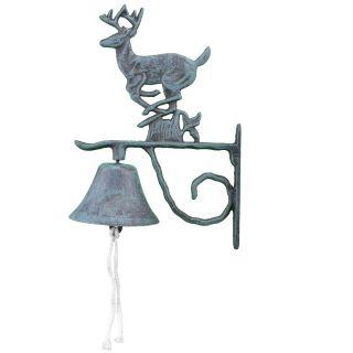 Cast Iron Dinner Bell Running Deer Distressed Verdigris