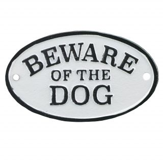 Import Wholesales Cast Iron Plaque Sign Beware of The Dog Black & White - 1569422269