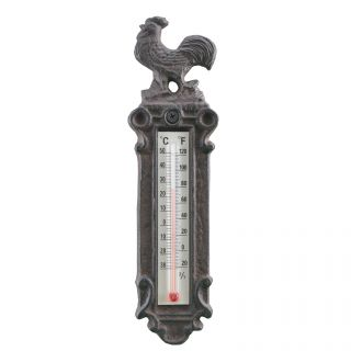 Decorative Cast Iron Thermometer Rooster Design