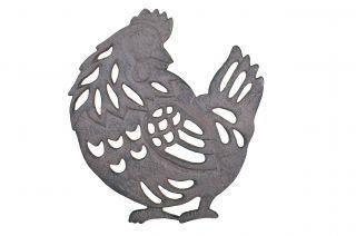 "Decorative Cast Iron Chicken Trivet 7.75"" Long"