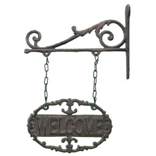 """Double Sided Ornate Hanging Welcome Sign 7.25"""" Wide"""